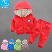 婴儿衣服秋冬季装男女婴幼儿外出服宝宝加绒加厚棉衣套装女0一1岁
