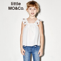 littlemoco夏季新品女童上衣无袖吊带荷叶边花朵刺绣白色上衣