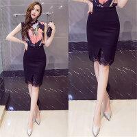 开叉包臀裙一步裙半身裙蕾丝拼接性感弹力黑色显瘦韩版职业裙