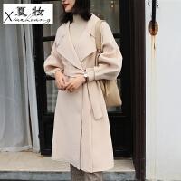 夏妆双面羊绒大衣女中长款秋冬新款韩版宽松大翻领100%羊毛呢外套 XL 135-150