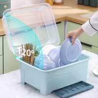 厨房碗碟碗盘收纳架盘子沥水碗架装碗筷收纳箱放碗餐具盒带盖碗柜kb6
