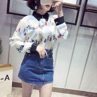 雪纺衫女长袖18春季新款上衣时尚百搭印花衬衫打底衫OL衬衣