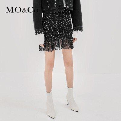 MOCO秋季新品碎花拼接荷叶边真丝短裙MA183SKT106 摩安珂 满399包邮 浪漫印花 透气桑蚕丝