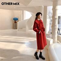 七格格红色双面呢子大衣女2020年冬装新款韩版宽松中长款毛呢外套