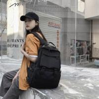 双肩包女2021新款简约百搭工装帆布背包港风韩版潮高中大学生书包