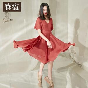 森宿CZ两三点的猫夏装新款文艺V领收腰A型短袖连衣裙女中裙