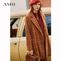 Amii极简复古英伦风羊毛呢外套女2019冬季新款宽松中长款格子大衣