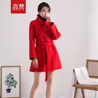 【2件3折 到手价:269元】高梵2019新款 双面呢羊毛大衣女黑色红色双排扣时尚毛呢外套