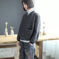 原创秋冬新款PU夹克女式短款棒球领皮衣宽松文艺范菱形格加厚外套 黑色
