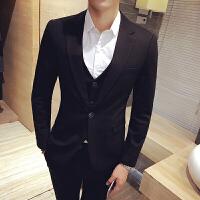 男士西装套装男韩版修身休闲三件套西服新郎结婚礼服英伦风韩