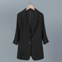 2018夏季大码韩国棉麻西服修身显瘦休闲七分袖薄亚麻小西装外套女 6X