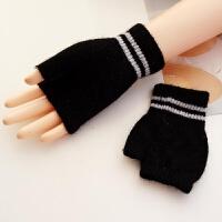 韩观手套女冬季学生纯色露指手套韩版保暖写字毛线半指手 随机颜色 均码
