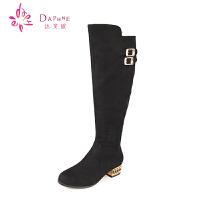 达芙妮女鞋 秋冬长靴方根低跟女靴 骑士靴时尚长筒女靴