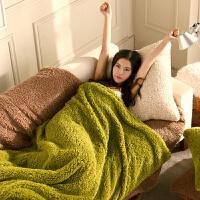 披肩毯小毯子午睡毯单人办公室毛毯法兰绒午休盖腿空调沙发毯披毯 松针绿 [双层披毯]