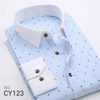 2018春新款印花男士长袖衬衫韩版休闲修身青年男式衬衣