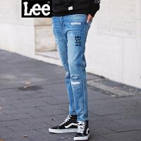 Lee男装 2017秋冬新品破洞刺绣牛仔九分裤 L29869Z027GD