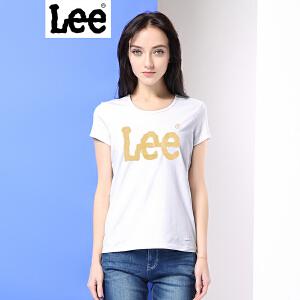 Lee女商场同款2017春夏新品时尚印花情侣女士短袖T恤L19192K99K14