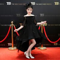 儿童公主裙礼服女童模特走秀黑色晚礼服小主持人钢琴演出服蓬蓬纱