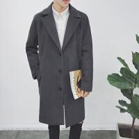秋冬季男士中长款风衣男宽松毛呢大衣韩版潮日系休闲呢子外套