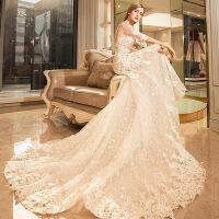 婚纱2018新款结婚婚纱礼服新娘长拖尾鱼尾显瘦版型 象牙白