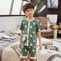 儿童睡衣男孩套装薄款男童宝宝纯棉夏天中大童家居服小孩
