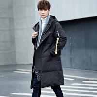 羽绒服男士中长款韩版连帽修身外套新款加厚男装潮流保暖冬装 黑色
