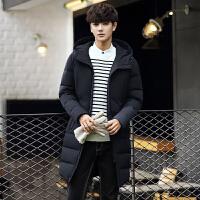 新款冬季中长款羽绒服男学生韩版修身连帽外套男士加厚保暖羽绒衣