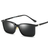 两用套镜偏光墨镜近视磁吸片太阳镜 方形全框眼镜男女新款夹片式