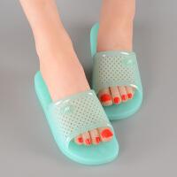 浴室拖鞋女夏天居家用室内厚底水晶凉拖鞋防滑洗澡平底果冻塑料托