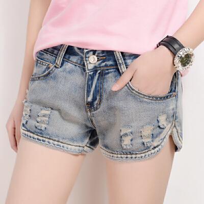 牛仔短裤女夏季宽松破洞mm韩版大码显瘦学生薄款复古热裤