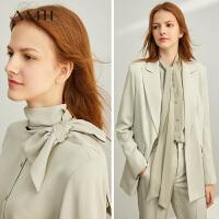 Amii极简法式优雅时髦雪纺衫2020春新款绑带直筒长袖纯色钮扣衬衫