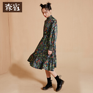 【低至1折起】森宿Z小女人心秋装新款文艺印花木耳边小高领收腰连衣裙女