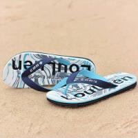 夏季新款 潮流涂鸦色人字拖男士防滑夹脚橡胶户外休闲沙滩凉拖鞋