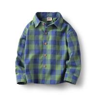 男童衬衫长袖中大童格子衬衣儿童上衣