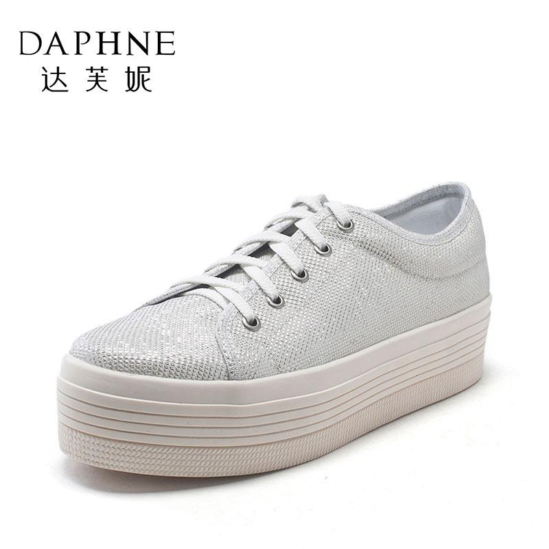 Daphne/达芙妮松糕跟平底系带布鞋圆头深口单鞋