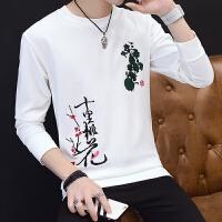 男士长袖T恤2017新款韩版潮流秋季薄款上衣服青少年圆领卫衣秋装