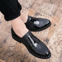 漆皮亮面布洛克款式雕花男鞋冬季英伦风潮流青年发型师休闲皮鞋子