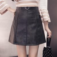 半身裙时尚气质韩版修身显瘦简约唯美可爱2017年秋季伞裙 黑色