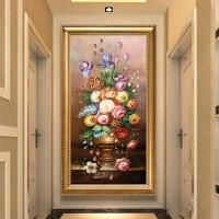 欧式5d钻石画满钻石绣花瓶玄关走廊贴钻十字绣2018新款客厅砖石画