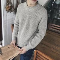 秋新款男士圆领毛衣宽松长袖针织衫韩版个性潮流时尚冬装