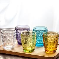 |欧式复古刻花玻璃水杯5支 耐热彩色水晶玻璃 茶杯酒杯果汁杯