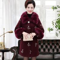 新款中老年女装秋装40岁50绣花呢子大衣中年妈妈时尚冬装毛呢外套