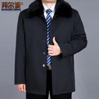 冬装中老年棉衣男外套加厚加绒可拆内胆中长款毛领爸爸装大码 深蓝色A01 0/M
