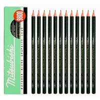 日本进口 三菱(Uni)绘图铅笔9800素描铅笔 墨绿色 多灰度绘图铅笔 素描绘画 不易断芯 12支装 办公文具用品