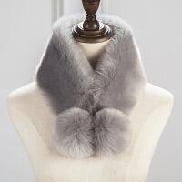 秋冬双球系带围脖套围巾女冬季加厚款仿兔毛围脖时尚保暖毛绒脖套