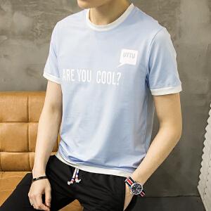 2017夏季新款男士短袖T恤 青年圆领半袖体恤韩版修身男装潮流大码
