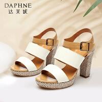 Daphne/达芙妮 正品 罗马风防水台超高跟粗跟女凉鞋1515303031