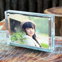 【品牌热卖】透明亚克力水晶相框摆台5六6七7八8寸宝宝照片框个性创意磁铁相架 透明 直角款10+10mm 【刻字丝印L