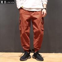 马切达秋季日系复古多口袋工装休闲裤青年男士简约纯色宽松束脚裤 桔红色