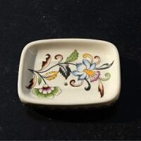 美式乡村陶瓷彩绘肥皂盒欧式创意香皂碟洗手盆肥皂碟带沥水孔